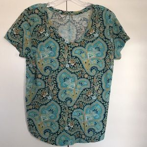 Teal colored patterned t-shirt